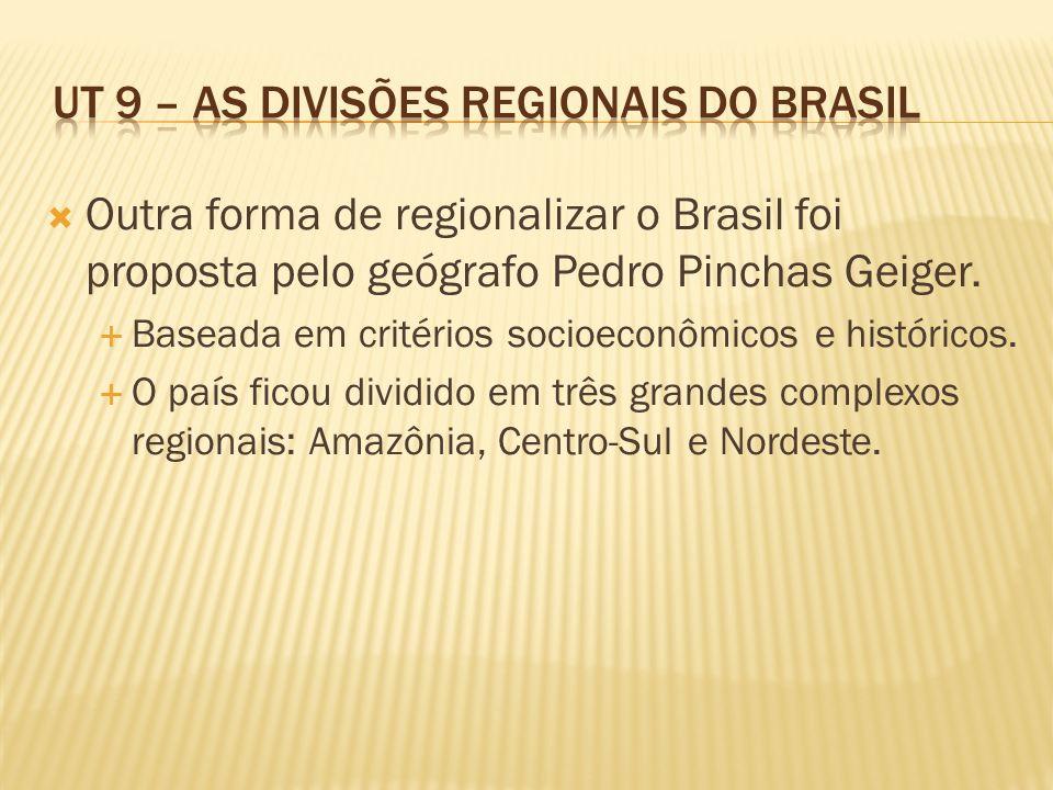 Outra forma de regionalizar o Brasil foi proposta pelo geógrafo Pedro Pinchas Geiger. Baseada em critérios socioeconômicos e históricos. O país ficou