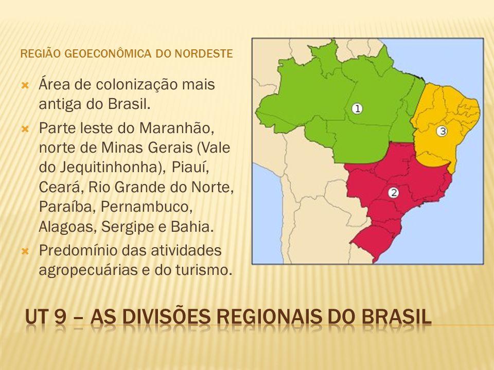 REGIÃO GEOECONÔMICA DO NORDESTE Área de colonização mais antiga do Brasil. Parte leste do Maranhão, norte de Minas Gerais (Vale do Jequitinhonha), Pia
