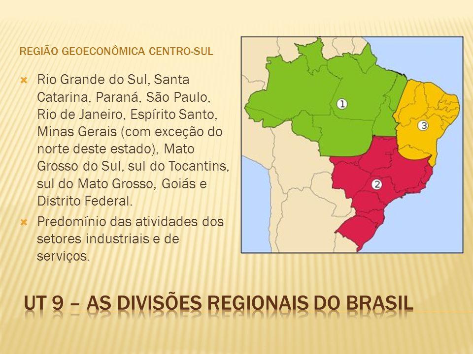 REGIÃO GEOECONÔMICA CENTRO-SUL Rio Grande do Sul, Santa Catarina, Paraná, São Paulo, Rio de Janeiro, Espírito Santo, Minas Gerais (com exceção do norte deste estado), Mato Grosso do Sul, sul do Tocantins, sul do Mato Grosso, Goiás e Distrito Federal.