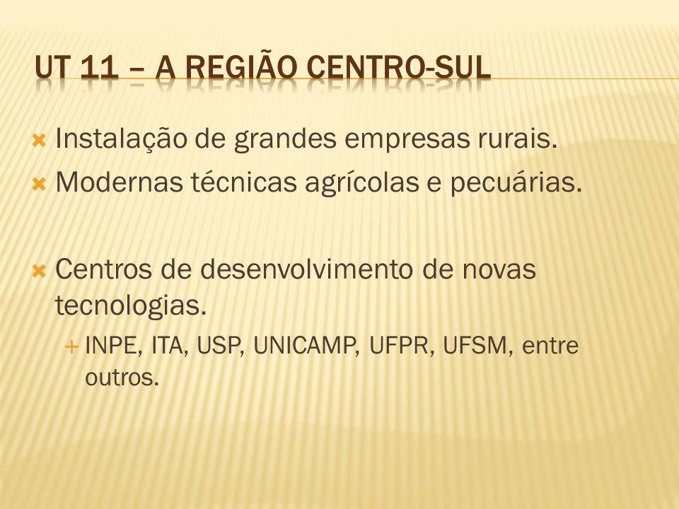 Instalação de grandes empresas rurais. Modernas técnicas agrícolas e pecuárias. Centros de desenvolvimento de novas tecnologias. INPE, ITA, USP, UNICA