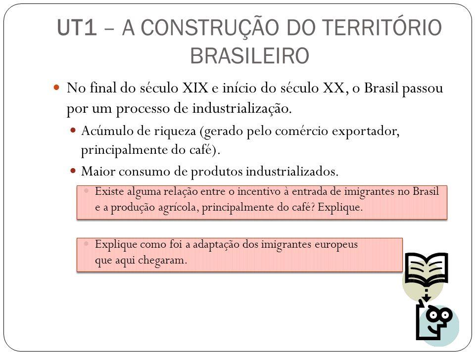 UT1 – A CONSTRUÇÃO DO TERRITÓRIO BRASILEIRO No final do século XIX e início do século XX, o Brasil passou por um processo de industrialização. Acúmulo