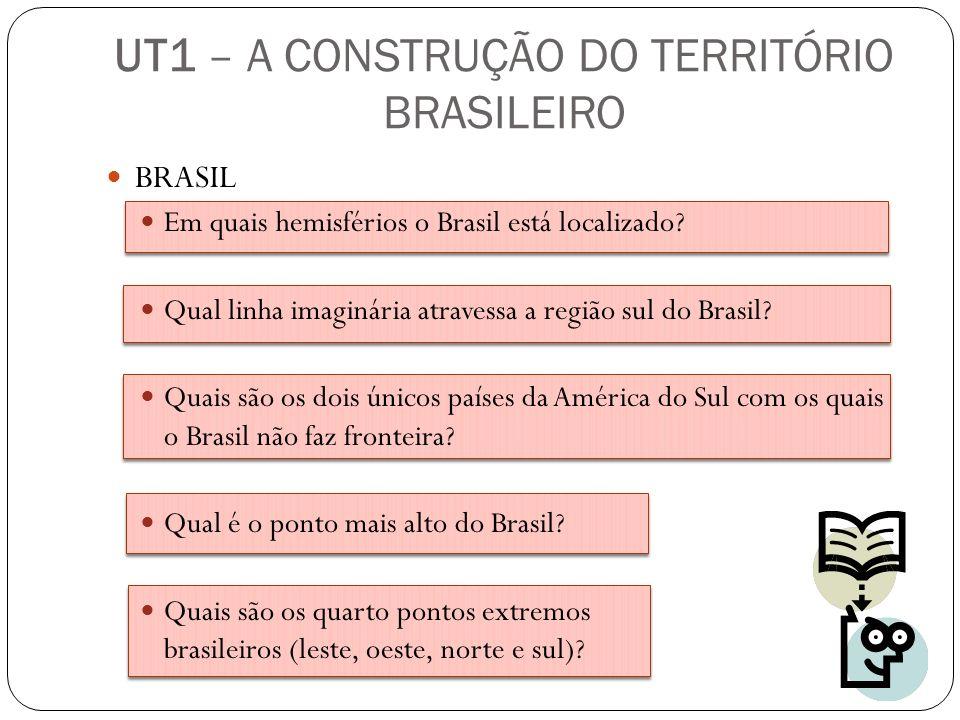 BRASIL Em quais hemisférios o Brasil está localizado? Qual linha imaginária atravessa a região sul do Brasil? Quais são os dois únicos países da Améri