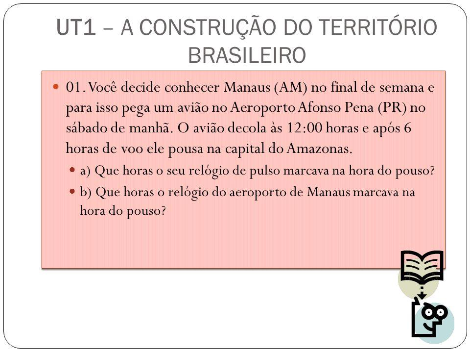 UT1 – A CONSTRUÇÃO DO TERRITÓRIO BRASILEIRO 01. Você decide conhecer Manaus (AM) no final de semana e para isso pega um avião no Aeroporto Afonso Pena