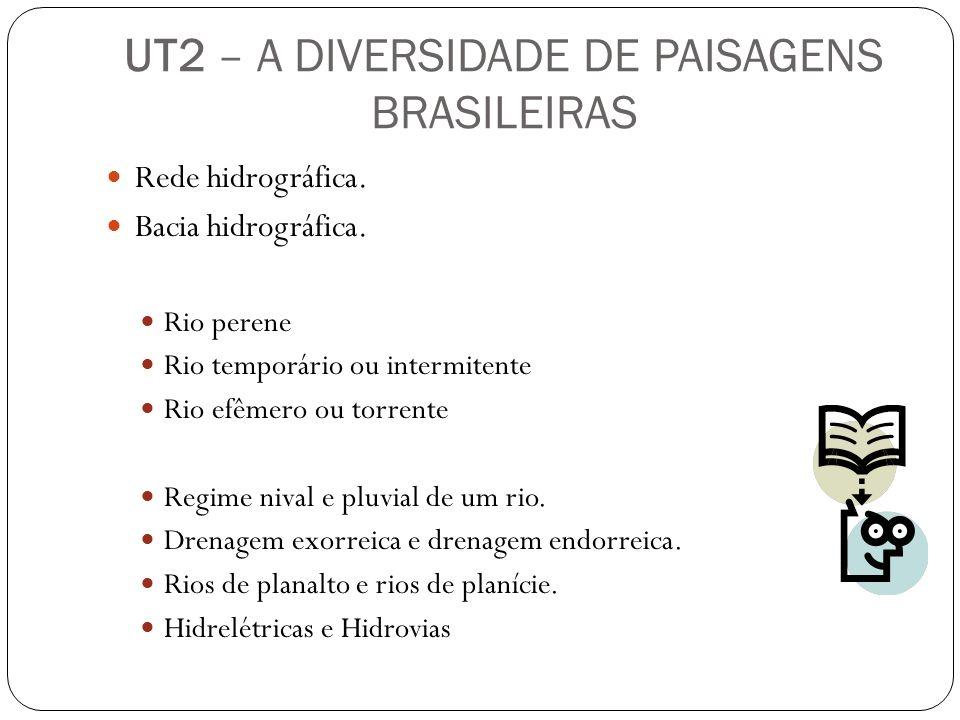 Rede hidrográfica. Bacia hidrográfica. Rio perene Rio temporário ou intermitente Rio efêmero ou torrente Regime nival e pluvial de um rio. Drenagem ex