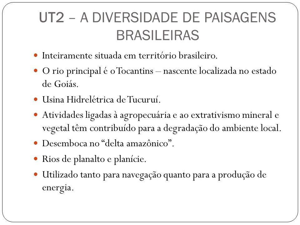 UT2 – A DIVERSIDADE DE PAISAGENS BRASILEIRAS Inteiramente situada em território brasileiro. O rio principal é o Tocantins – nascente localizada no est