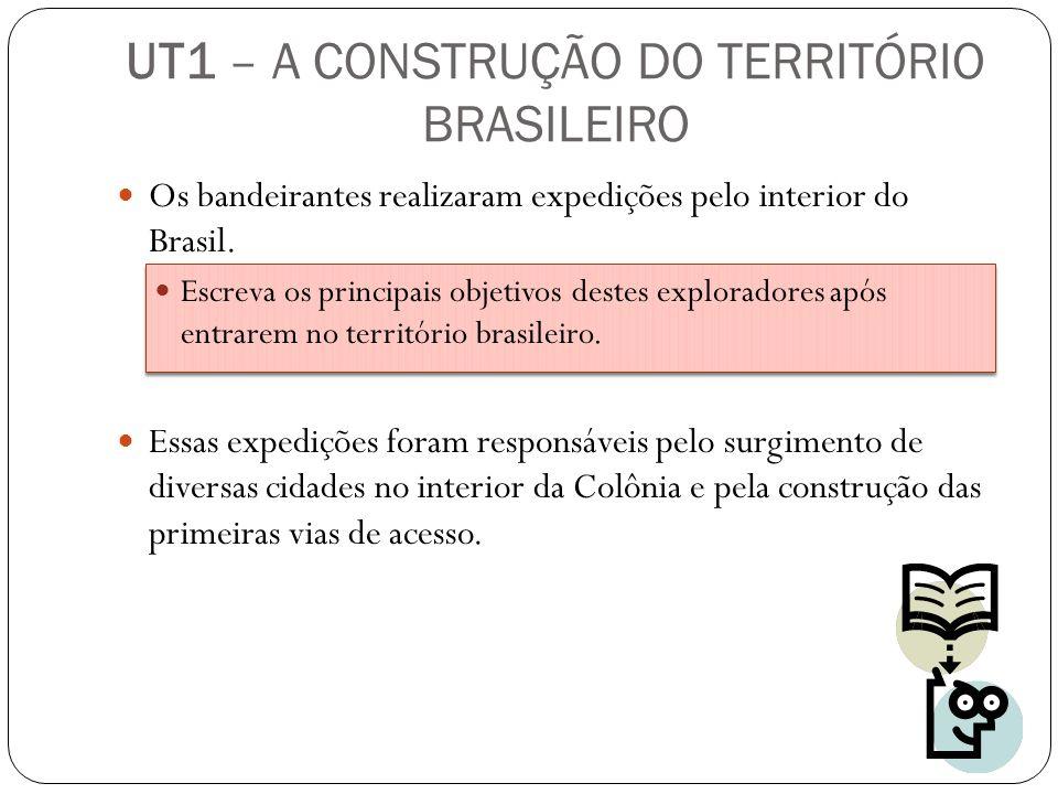 UT1 – A CONSTRUÇÃO DO TERRITÓRIO BRASILEIRO Os bandeirantes realizaram expedições pelo interior do Brasil. Escreva os principais objetivos destes expl