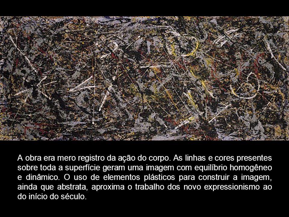 A obra era mero registro da ação do corpo. As linhas e cores presentes sobre toda a superfície geram uma imagem com equilíbrio homogêneo e dinâmico. O