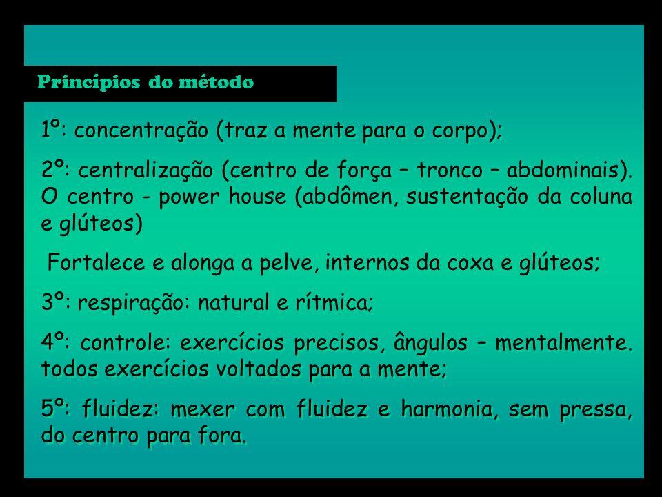 1º: concentração (traz a mente para o corpo); 2º: centralização (centro de força – tronco – abdominais). O centro - power house (abdômen, sustentação