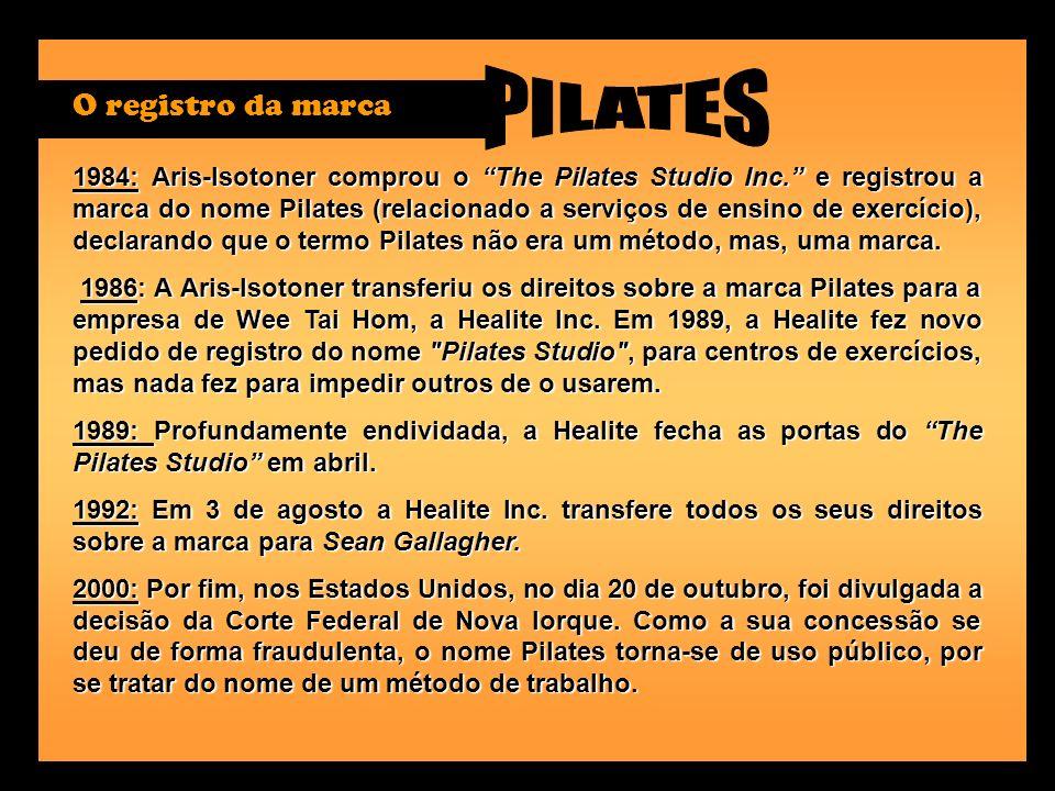 1984: Aris-Isotoner comprou o The Pilates Studio Inc. e registrou a marca do nome Pilates (relacionado a serviços de ensino de exercício), declarando
