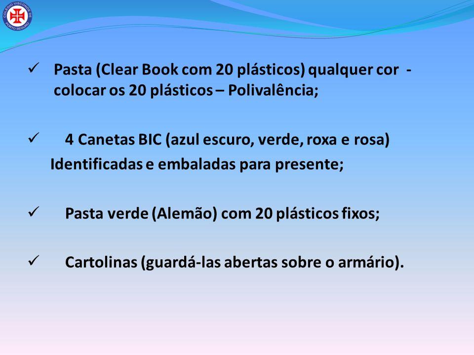 Pasta (Clear Book com 20 plásticos) qualquer cor - colocar os 20 plásticos – Polivalência; 4 Canetas BIC (azul escuro, verde, roxa e rosa) Identificad