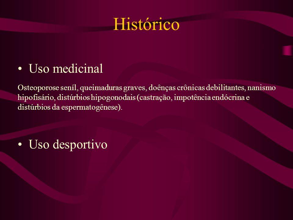 Histórico Uso medicinal Uso desportivo Osteoporose seníl, queimaduras graves, doênças crônicas debilitantes, nanismo hipofisário, distúrbios hipogonodais (castração, impotência endócrina e distúrbios da espermatogênese).