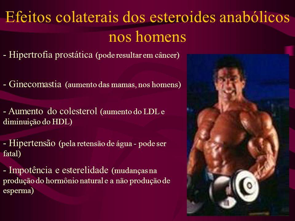 Efeitos colaterais dos esteroides anabólicos nos homens - Hipertrofia prostática (pode resultar em câncer) - Ginecomastia (aumento das mamas, nos homens) - Aumento do colesterol (aumento do LDL e diminuição do HDL) - Hipertensão (pela retensão de água - pode ser fatal) - Impotência e esterelidade (mudanças na produção do hormônio natural e a não produção de esperma)