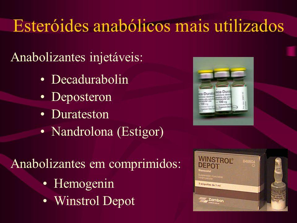 Esteróides anabólicos mais utilizados Decadurabolin Deposteron Durateston Anabolizantes injetáveis: Anabolizantes em comprimidos: Hemogenin Winstrol Depot Nandrolona (Estigor)