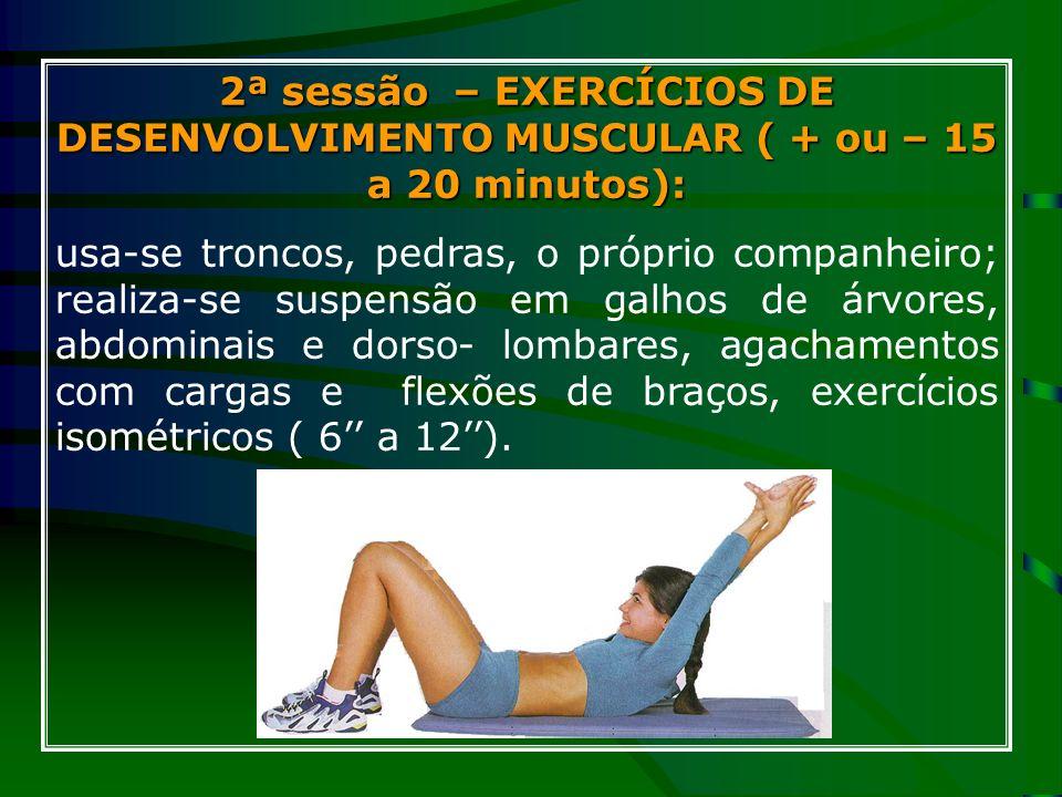 2ª sessão – EXERCÍCIOS DE DESENVOLVIMENTO MUSCULAR ( + ou – 15 a 20 minutos): usa-se troncos, pedras, o próprio companheiro; realiza-se suspensão em g