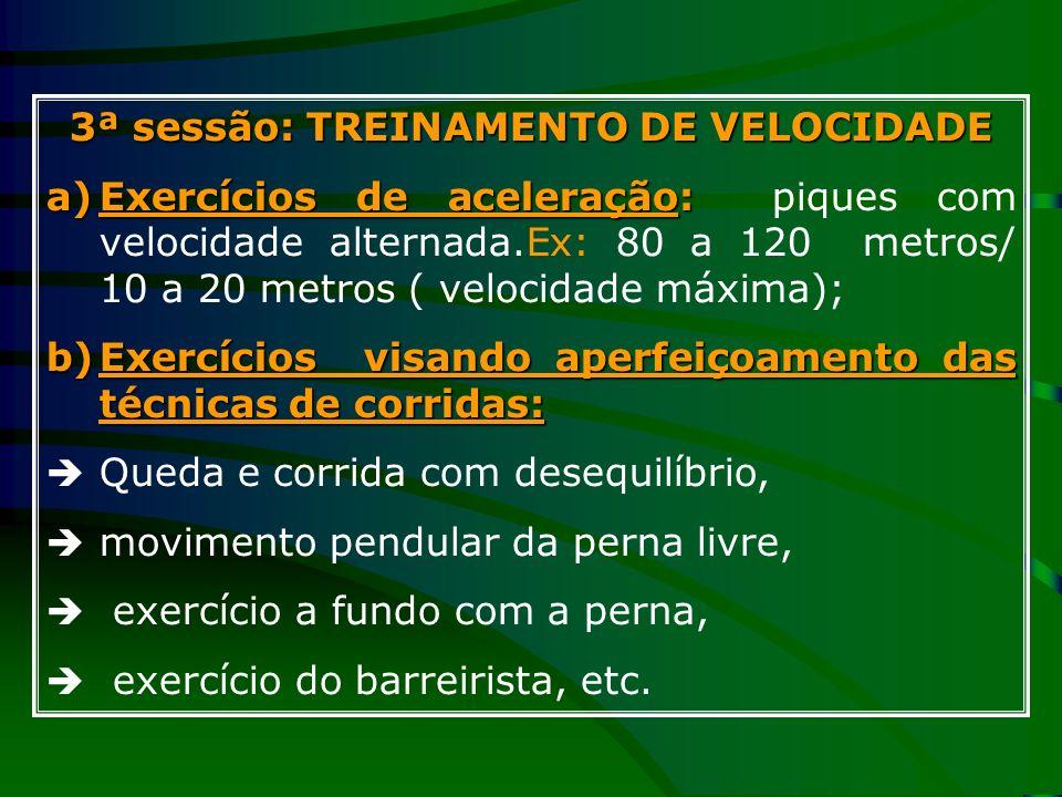 3ª sessão: TREINAMENTO DE VELOCIDADE a)Exercícios de aceleração: a)Exercícios de aceleração: piques com velocidade alternada.Ex: 80 a 120 metros/ 10 a