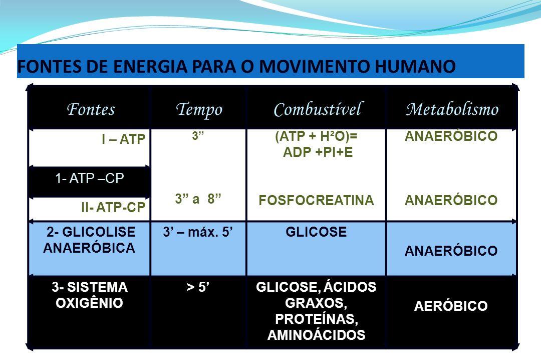 FONTES DE ENERGIA PARA O MOVIMENTO HUMANO FontesTempoCombustívelMetabolismo I – ATP 3 3 a 8 (ATP + H²O)= ADP +PI+E FOSFOCREATINA ANAERÓBICO 1- ATP –CP