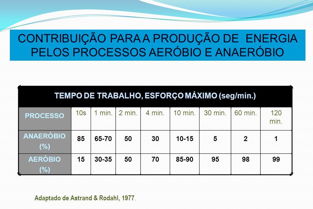 CONTRIBUIÇÃO PARA A PRODUÇÃO DE ENERGIA PELOS PROCESSOS AERÓBIO E ANAERÓBIO TEMPO DE TRABALHO, ESFORÇO MÁXIMO (seg/min.) PROCESSO 10s1 min.2 min.4 min