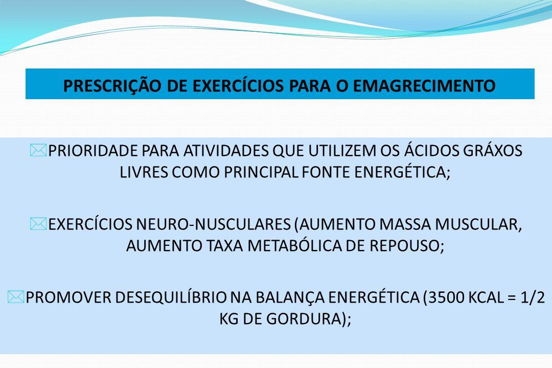 PRESCRIÇÃO DE EXERCÍCIOS PARA O EMAGRECIMENTO PRIORIDADE PARA ATIVIDADES QUE UTILIZEM OS ÁCIDOS GRÁXOS LIVRES COMO PRINCIPAL FONTE ENERGÉTICA; EXERCÍC