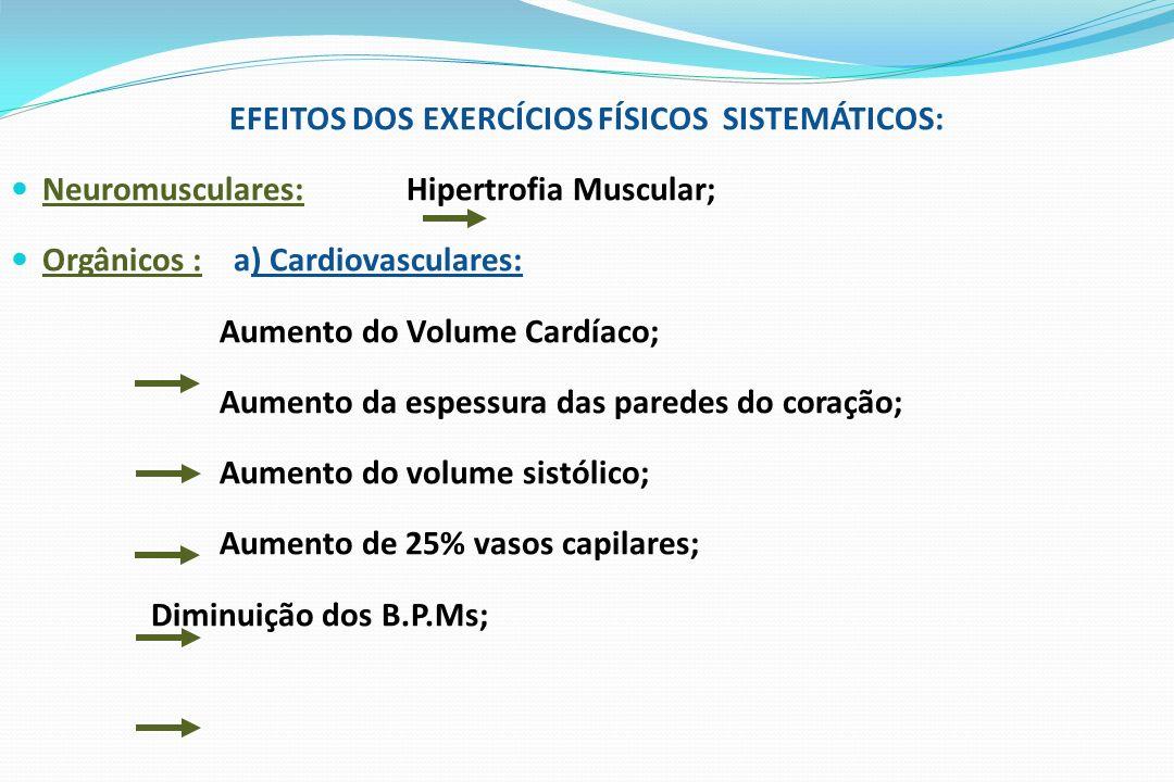 EFEITOS DOS EXERCÍCIOS FÍSICOS SISTEMÁTICOS: Neuromusculares: Hipertrofia Muscular; Orgânicos : a) Cardiovasculares: Aumento do Volume Cardíaco; Aumen