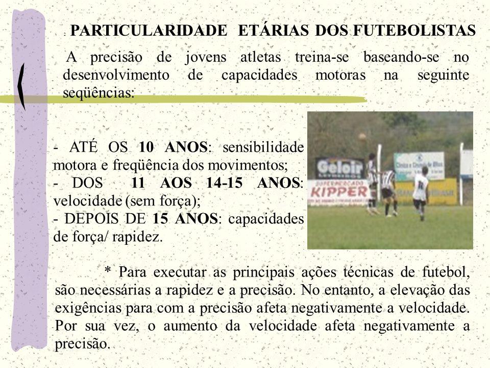 * Para executar as principais ações técnicas de futebol, são necessárias a rapidez e a precisão. No entanto, a elevação das exigências para com a prec