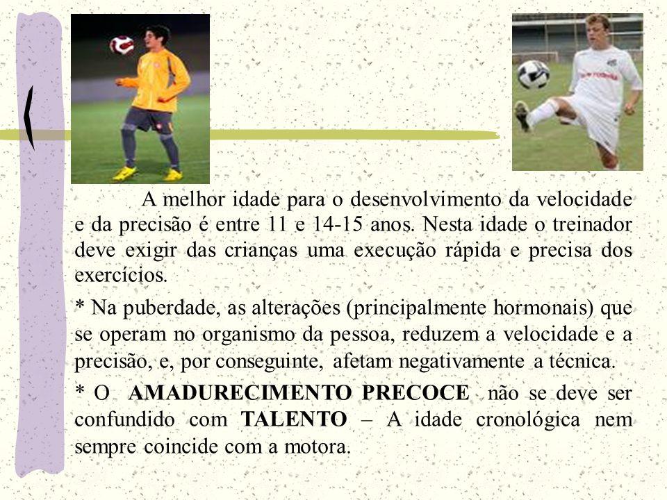 A melhor idade para o desenvolvimento da velocidade e da precisão é entre 11 e 14-15 anos. Nesta idade o treinador deve exigir das crianças uma execuç