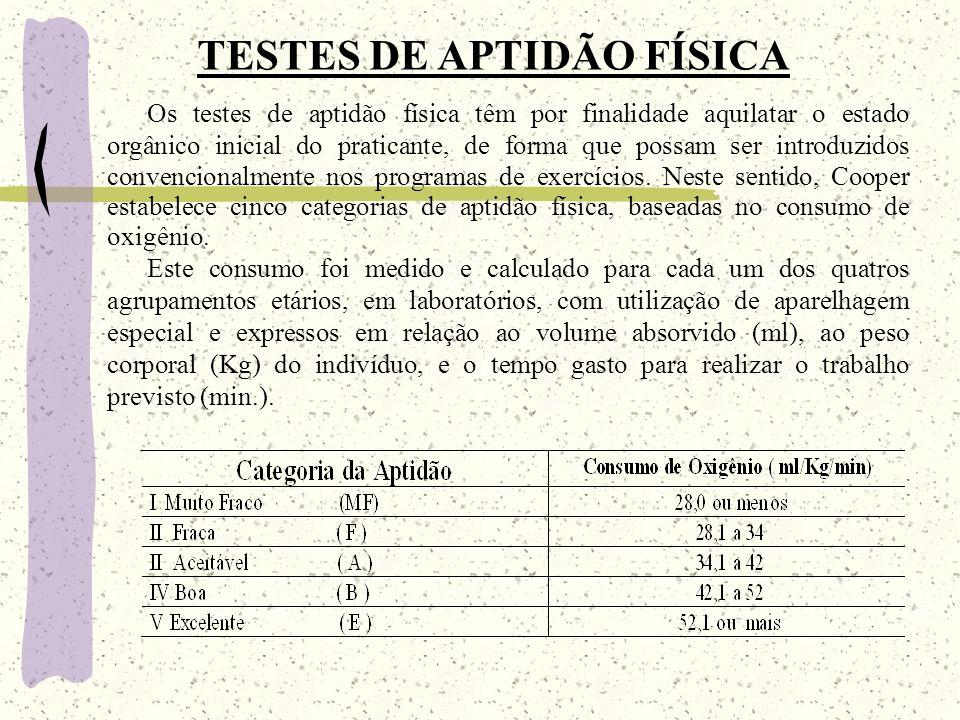 TESTES DE APTIDÃO FÍSICA Os testes de aptidão física têm por finalidade aquilatar o estado orgânico inicial do praticante, de forma que possam ser introduzidos convencionalmente nos programas de exercícios.