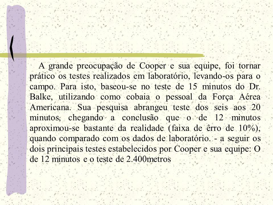 A grande preocupação de Cooper e sua equipe, foi tornar prático os testes realizados em laboratório, levando-os para o campo. Para isto, baseou-se no