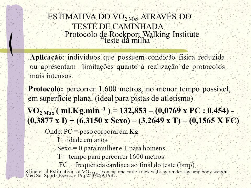 ESTIMATIVA DO VO 2 Max ATRAVÉS DO TESTE DE CAMINHADA Protocolo de Rockport Walking Institute teste da milha Aplicação: indivíduos que possuem condição