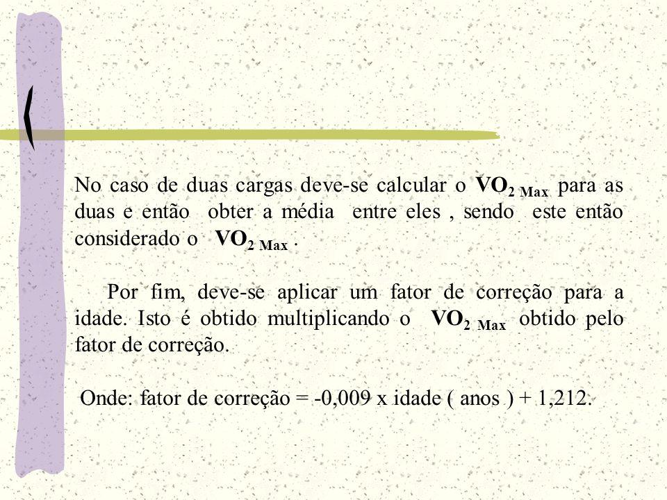 No caso de duas cargas deve-se calcular o VO 2 Max para as duas e então obter a média entre eles, sendo este então considerado o VO 2 Max. Por fim, de