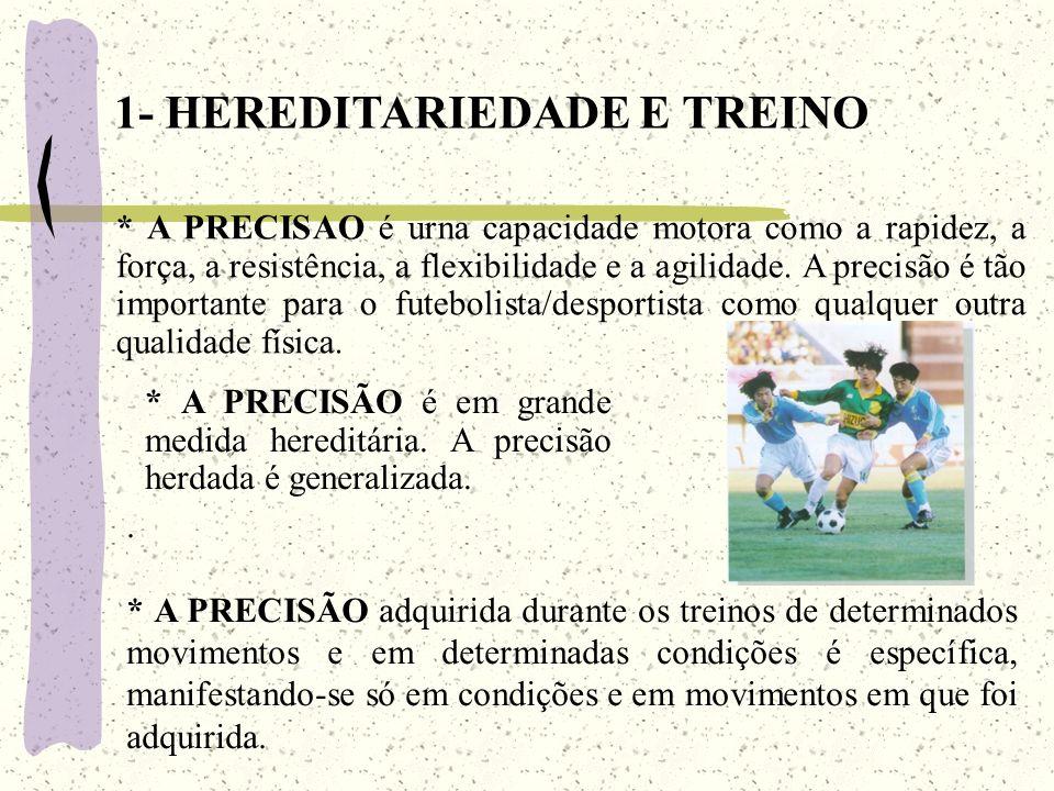 * A PRECISÃO adquirida durante os treinos de determinados movimentos e em determinadas condições é específica, manifestando-se só em condições e em movimentos em que foi adquirida.
