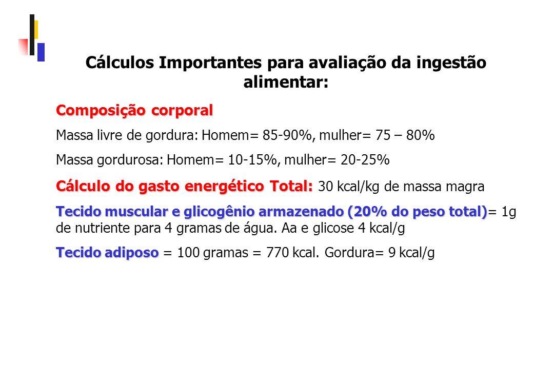 Cálculos Importantes para avaliação da ingestão alimentar: Composição corporal Massa livre de gordura: Homem= 85-90%, mulher= 75 – 80% Massa gordurosa