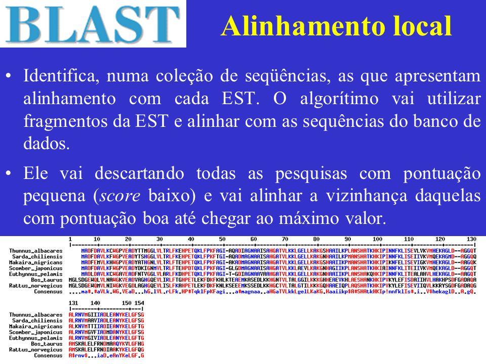 Alinhamento local Identifica, numa coleção de seqüências, as que apresentam alinhamento com cada EST. O algorítimo vai utilizar fragmentos da EST e al