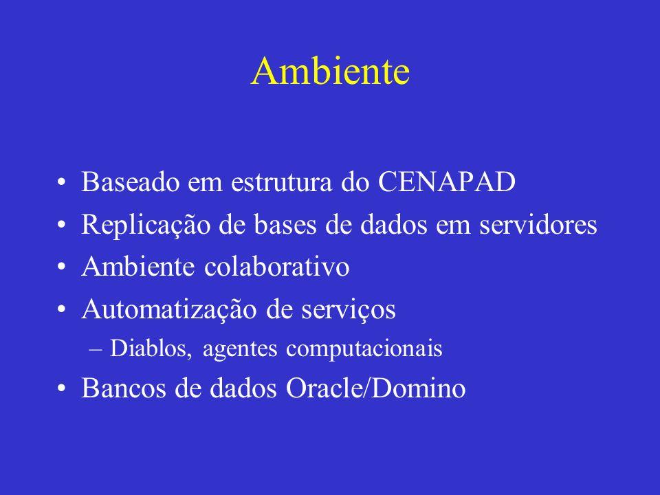Ambiente Baseado em estrutura do CENAPAD Replicação de bases de dados em servidores Ambiente colaborativo Automatização de serviços –Diablos, agentes