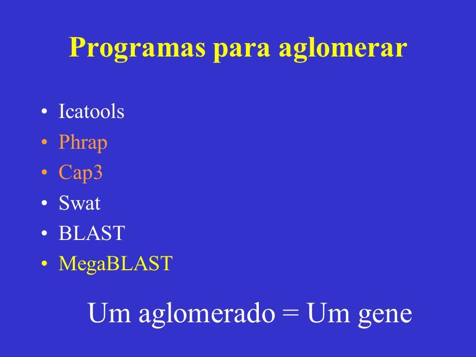 Programas para aglomerar Icatools Phrap Cap3 Swat BLAST MegaBLAST Um aglomerado = Um gene