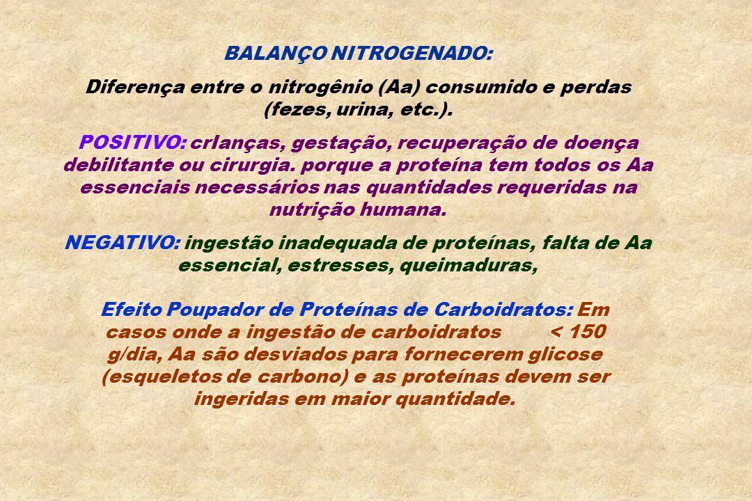 BALANÇO NITROGENADO: Diferença entre o nitrogênio (Aa) consumido e perdas (fezes, urina, etc.). POSITIVO: crIanças, gestação, recuperação de doença de