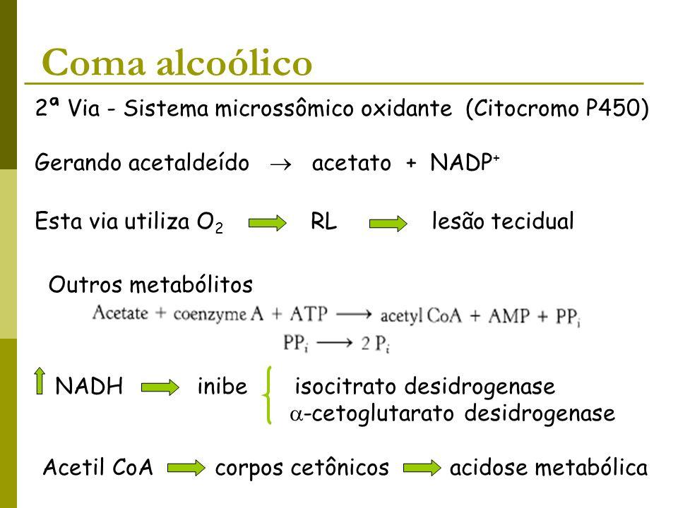 Coma alcoólico 2ª Via - Sistema microssômico oxidante (Citocromo P450) Gerando acetaldeído acetato + NADP + Esta via utiliza O 2 RL lesão tecidual Out