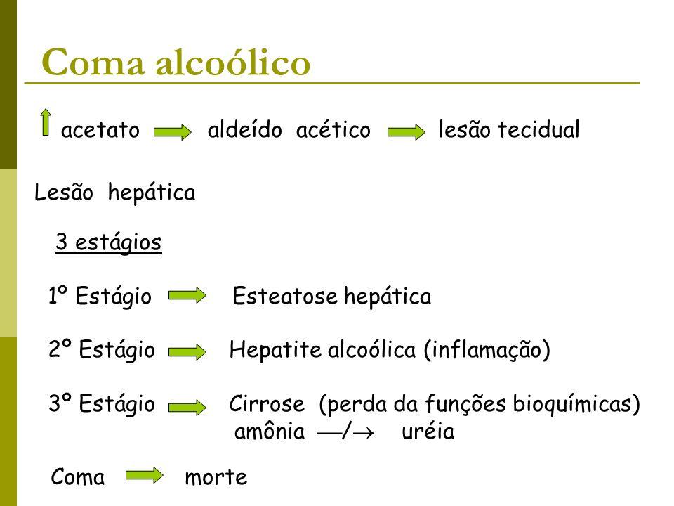 Coma alcoólico acetato aldeído acético lesão tecidual Lesão hepática 3 estágios 1º Estágio Esteatose hepática 2º Estágio Hepatite alcoólica (inflamaçã