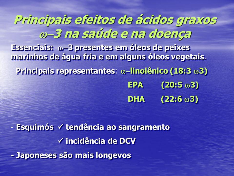 Principais efeitos de ácidos graxos 3 na saúde e na doença Essenciais: 3 presentes em óleos de peixes marinhos de água fria e em alguns óleos vegetais