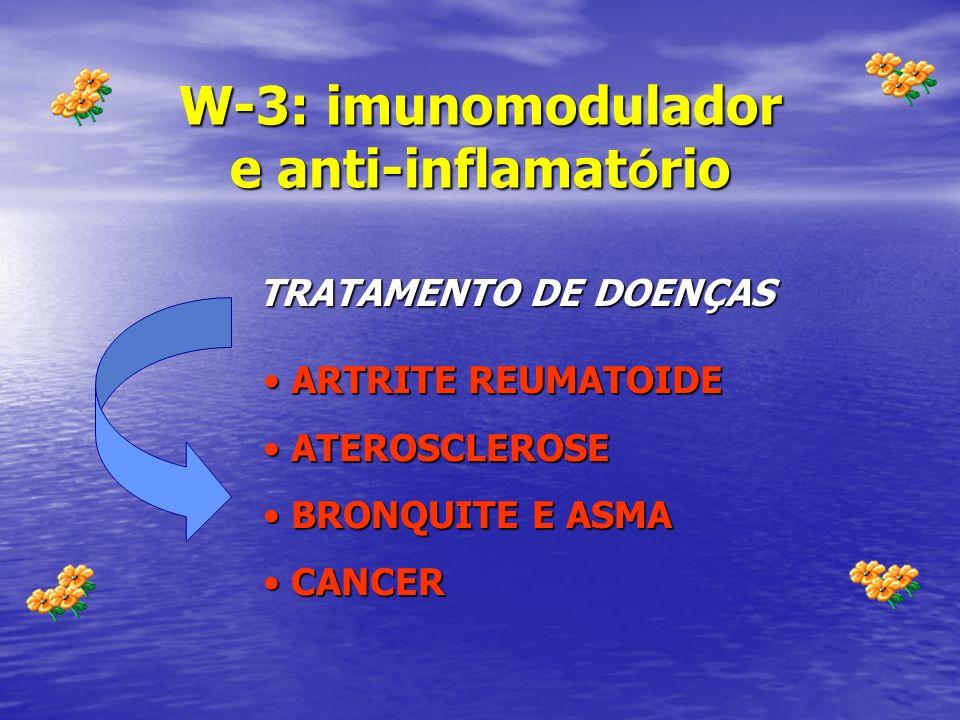 W-3: imunomodulador e anti-inflamat ó rio ARTRITE REUMATOIDE ARTRITE REUMATOIDE ATEROSCLEROSE ATEROSCLEROSE BRONQUITE E ASMA BRONQUITE E ASMA CANCER C