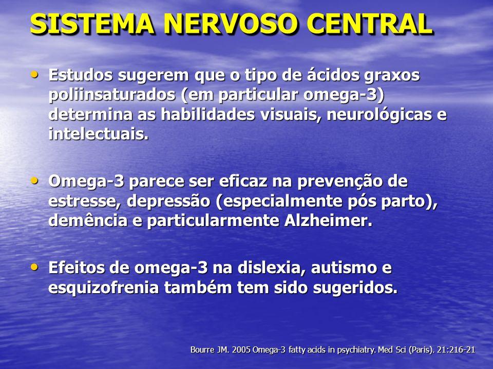 SISTEMA NERVOSO CENTRAL Estudos sugerem que o tipo de ácidos graxos poliinsaturados (em particular omega-3) determina as habilidades visuais, neurológ