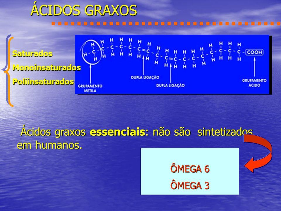 ÁCIDOS GRAXOS ÔMEGA 6 ÔMEGA 3 Ácidos graxos essenciais: não são sintetizados em humanos. SaturadosMonoinsaturadosPoliinsaturados