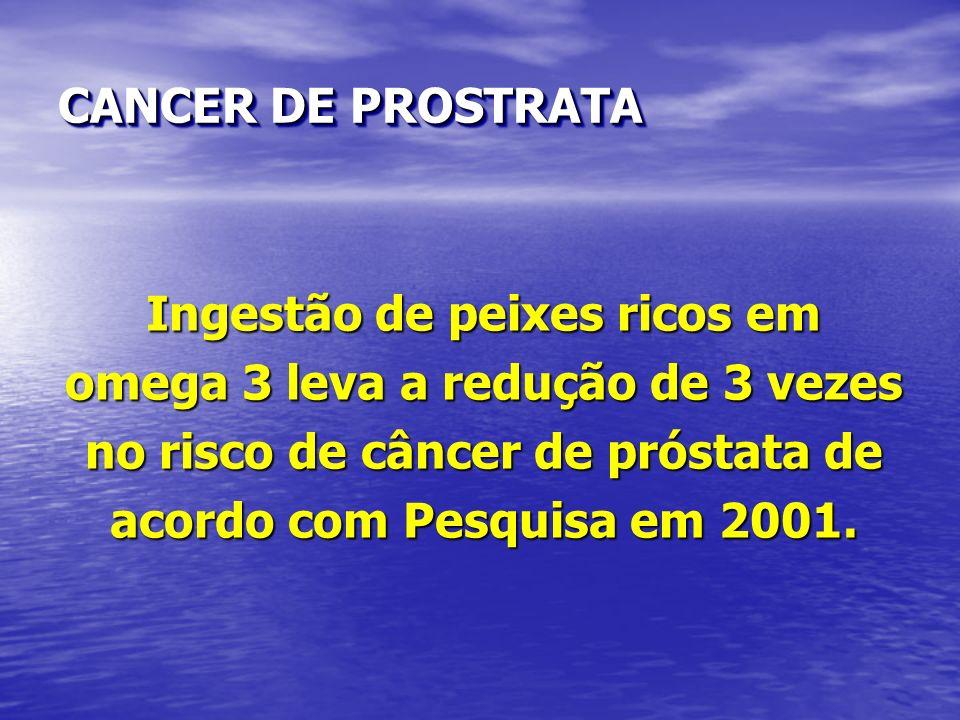 Ingestão de peixes ricos em omega 3 leva a redução de 3 vezes no risco de câncer de próstata de acordo com Pesquisa em 2001. CANCER DE PROSTRATA