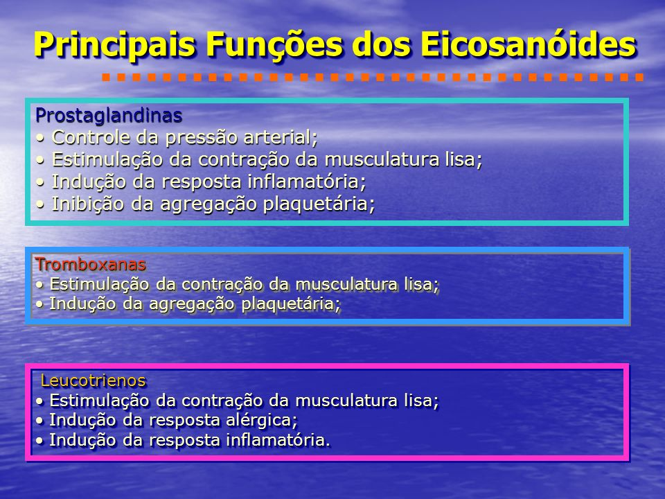 Principais Funções dos Eicosanóides Prostaglandinas Controle da pressão arterial; Controle da pressão arterial; Estimulação da contração da musculatur