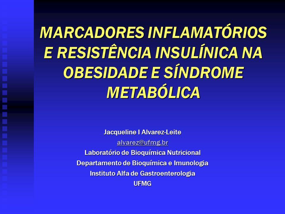 MARCADORES INFLAMATÓRIOS E RESISTÊNCIA INSULÍNICA NA OBESIDADE E SÍNDROME METABÓLICA Jacqueline I Alvarez-Leite alvarez@ufmg.br Laboratório de Bioquím