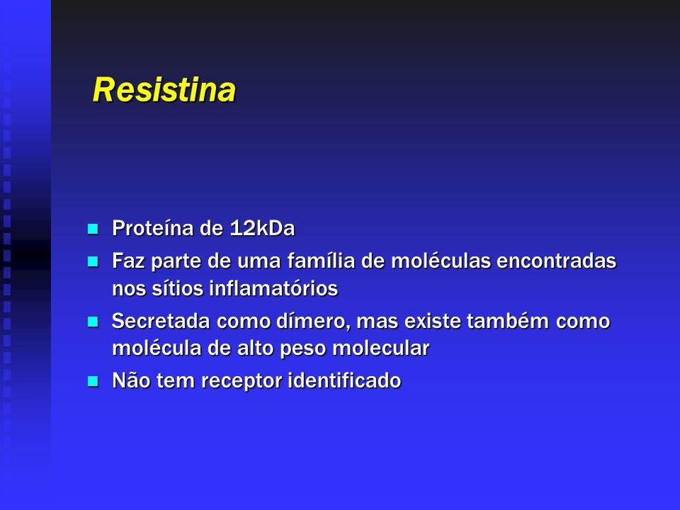 Resistina Proteína de 12kDa Proteína de 12kDa Faz parte de uma família de moléculas encontradas nos sítios inflamatórios Faz parte de uma família de m