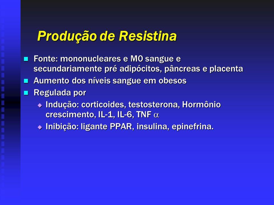 Produção de Resistina Fonte: mononucleares e M0 sangue e secundariamente pré adipócitos, pâncreas e placenta Fonte: mononucleares e M0 sangue e secund