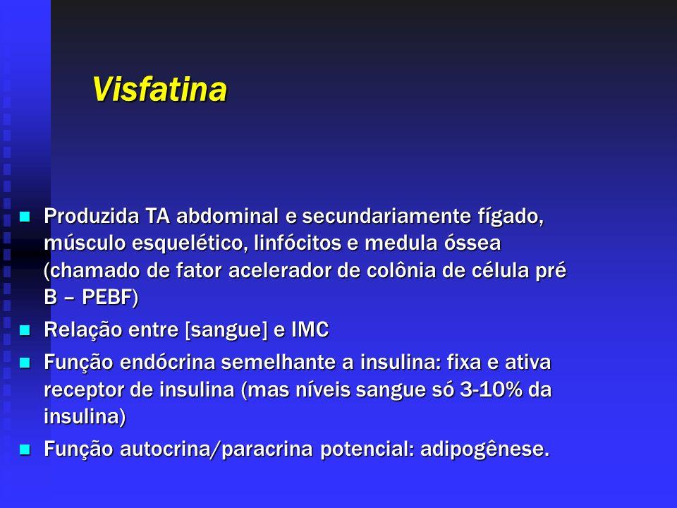 Visfatina Produzida TA abdominal e secundariamente fígado, músculo esquelético, linfócitos e medula óssea (chamado de fator acelerador de colônia de c