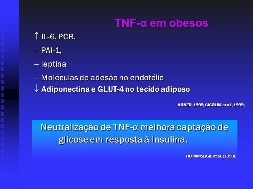 TNF-α em obesos IL-6, PCR, IL-6, PCR, PAI-1, PAI-1, leptina leptina Moléculas de adesão no endotélio Moléculas de adesão no endotélio ARNER, 1995; CIG
