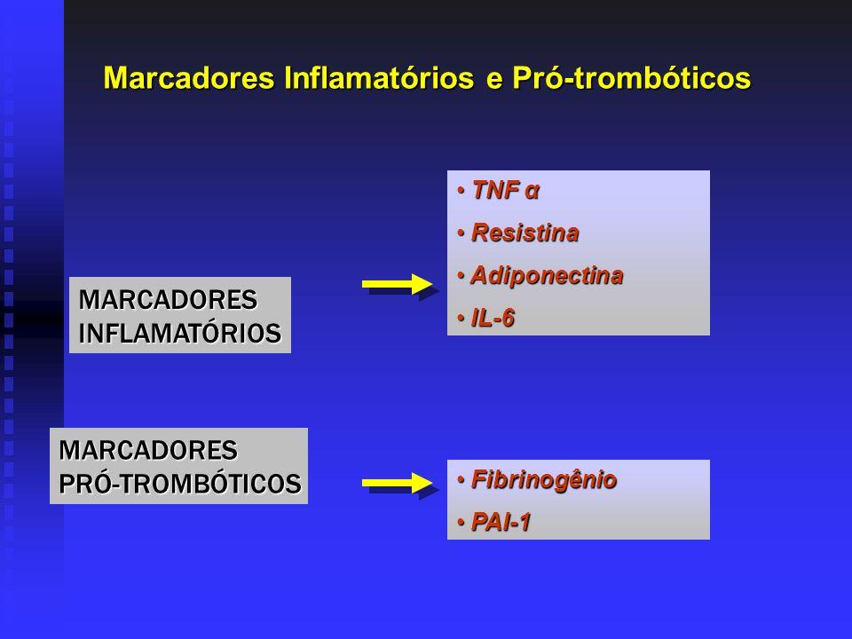 Marcadores Inflamatórios e Pró-trombóticos Marcadores Inflamatórios e Pró-trombóticos TNF α TNF α Resistina Resistina Adiponectina Adiponectina IL-6 I