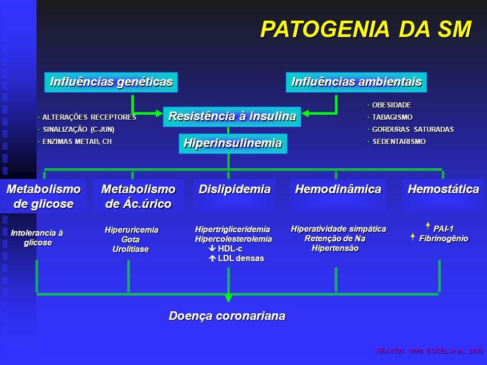 PATOGENIA DA SM Influências ambientais Influências genéticas Resistência à insulina OBESIDADEOBESIDADE TABAGISMOTABAGISMO GORDURAS SATURADASGORDURAS S